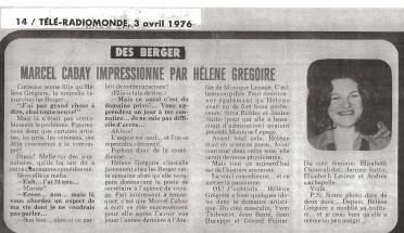 Helene Gregoire LesBerger©TeleRadiomonde3avril1976