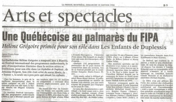 Helene Gregoire LesOrphelinsdeDuplessis ©LaPresse18janvier 1998