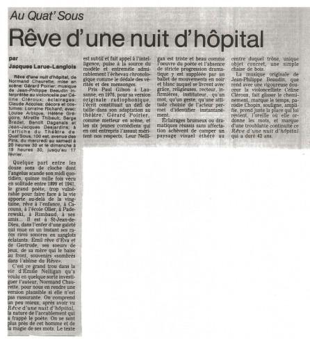 Helene Gregoire Reve d'une nuit d'hopital ©TheatreQuatSous1977